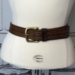 LEVI'S men's brown leather belt solid brass buckle